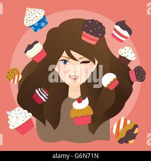 Belles filles femme avec cup cakes illustration Banque D'Images