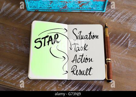 Acronyme d'entreprise star comme Situation, tâche, Action, Résultat Banque D'Images