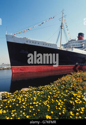 Le RMS Queen Mary qui a commencé à transporter des passagers en 1936 comme paquebot transatlantique est aujourd'hui Banque D'Images