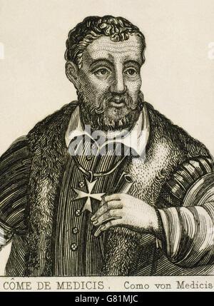 Cosimo I de Médicis (1519-1574). Grand-duc de Toscane et le duc de Florence. Portrait. La gravure. Banque D'Images