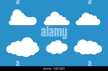 Jeu de nuages avec six styles moelleux
