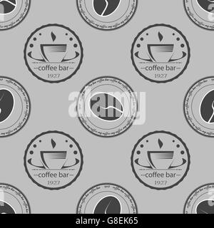 Ensemble d'étiquettes monochromes à thème café vintage. Modèle sans couture. Vector illustration Banque D'Images