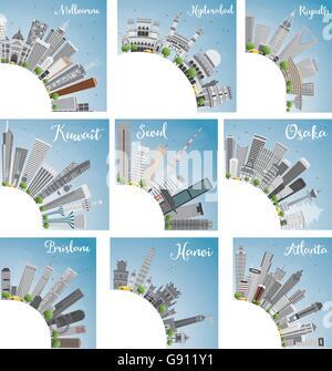 Ensemble de 9 sur les toits de la ville avec l'exemplaire de l'espace. Vector Illustration. Skyline avec World Landmarks. Banque D'Images
