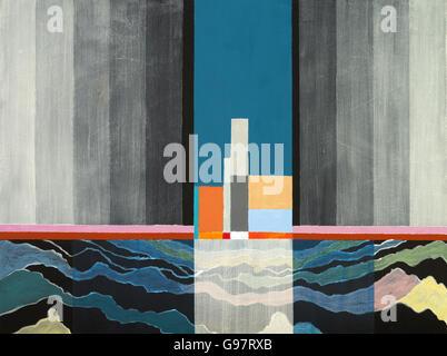 Un tableau abstrait avec une suggestion d'un thème maritime Banque D'Images