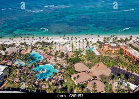 Beach Resort, reef, Bavaro, Punta Cana, La Altagracia Province, République Dominicaine Banque D'Images
