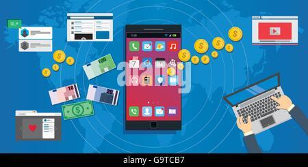 L'économie des apps de l'écosystème de développement d'applications mobiles Banque D'Images