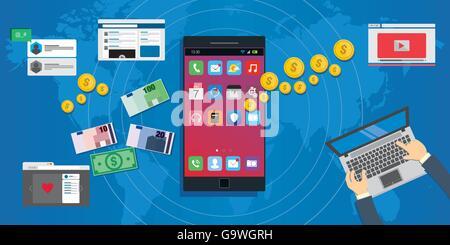 Économie d'applications développement d'applications mobiles écosystème concept illustration Banque D'Images