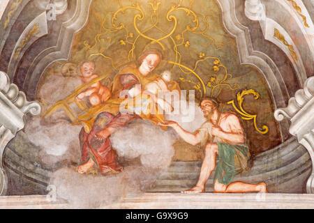 BRESCIA, ITALIE - 21 MAI 2016: la fresque de vertu cardinale de l'amour dans Chiesa di Santa Maria della Carita Banque D'Images