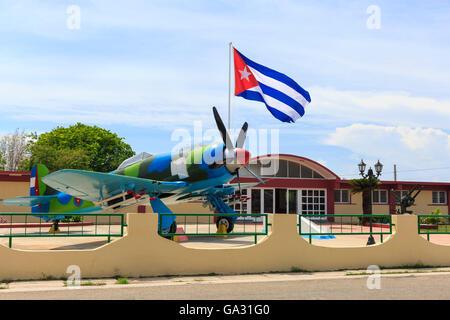 Museo Playa Girón, Baie des Cochons musée consacré à l'invasion et de la bataille, avec l'avion de chasse Hawker Banque D'Images