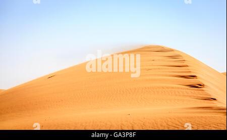 Le vent souffle le sable vers le sommet d'une dune dans le désert près de la Réserve de conservation de DUBAÏ, ÉMIRATS Banque D'Images