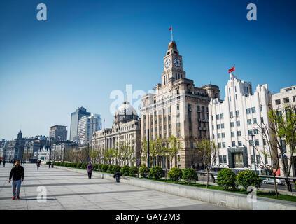 Bund Riverside patrimoine colonial européen monument du centre de la ville de Shanghai Chine Banque D'Images