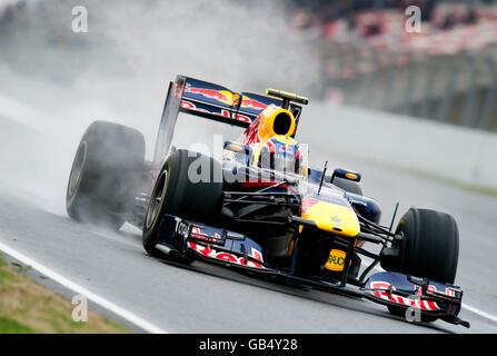 Mark Webber, en Australie, au volant de sa Red Bull Racing-Renault RB7 sur une piste humide, les sports mécaniques, Banque D'Images