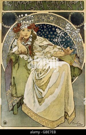 "Beaux-arts, Mucha, Alfons (1860 - 1939), affiche, Hyacinia «Princezna"" (princesse), Jacinthe, lithographie, 1911"