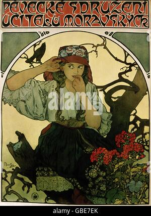 Beaux-arts, Mucha, Alfons, (1860 - 1939), affiche, 'Pevecke Ucitelu Moravskyck Sdruzeni', Banque D'Images