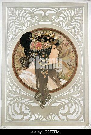 Beaux-arts, Mucha, Alfons (1860 - 1939), affiche, portrait d'une dame brune, 1897, Banque D'Images