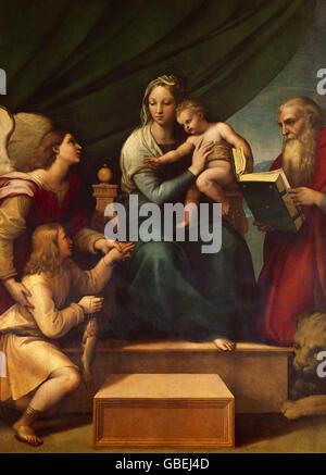 """Beaux-arts, Raphael (Raffaello Santi) (6.4.1483 - 6.4.1520), peinture 'Madonna du poisson"""", 1512 - 1514, Muceo Nacional Banque D'Images"""