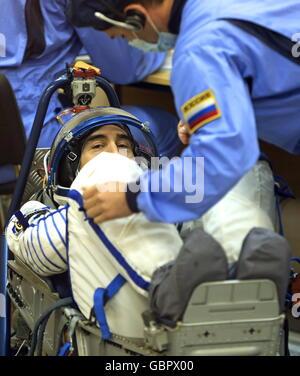 Cosmodrome de Baïkonour, au Kazakhstan. 7 juillet, 2016. Le cosmonaute russe Anatoly Ivanishin (Roscosmos), membre Banque D'Images