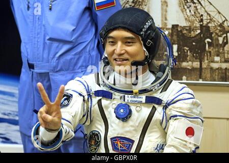 Cosmodrome de Baïkonour, au Kazakhstan. 7 juillet, 2016. Austronaut japonais Takuya Onishi (JAXA), membre de l'équipage Banque D'Images