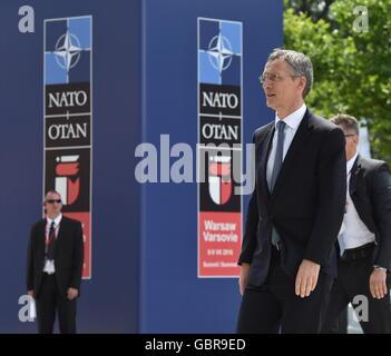 Varsovie, Pologne. 8 juillet, 2016. Le Secrétaire général de l'OTAN, Jens Stoltenberg assiste à un sommet de l'OTAN. Banque D'Images