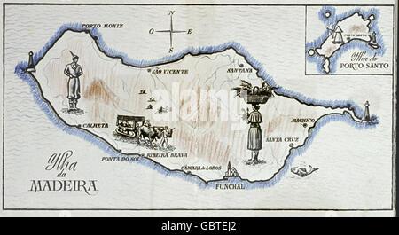 Géographie / Voyage, Portugal, Madère, carte topographique, 1958, droits supplémentaires-Clearences-non disponible Banque D'Images