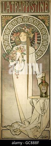 Beaux-arts, Mucha, Alfons Maria, (24.8.1860 - 14.7.1939), l'affiche pour 'La liqueur' Trappistine, ca. 1895, lithographie, Banque D'Images
