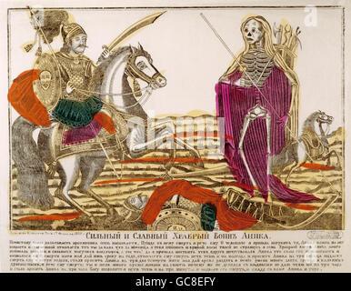 La littérature, les légendes, la Russie, le guerrier et l'Anica la mort, gravure sur cuivre, 2e moitié 19e siècle, Banque D'Images