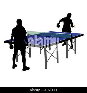 Deux hommes à jouer au tennis de table vector illustration Banque D'Images