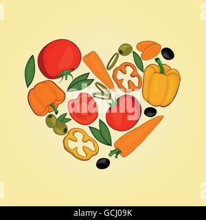 Ensemble de légumes dans des formes cœur Banque D'Images
