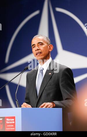 Varsovie, Pologne. 08 juillet, 2016. Des déclarations d'un président des Etats-Unis Barack Obama à Nationan Stadium Banque D'Images