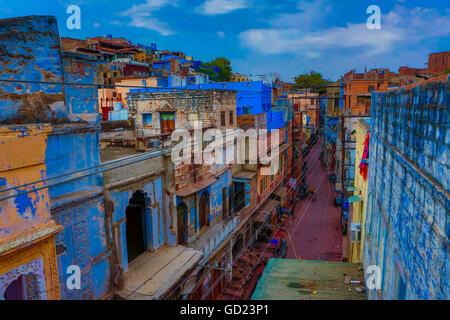Les toits bleus à Jodhpur, la Ville Bleue, Rajasthan, Inde, Asie