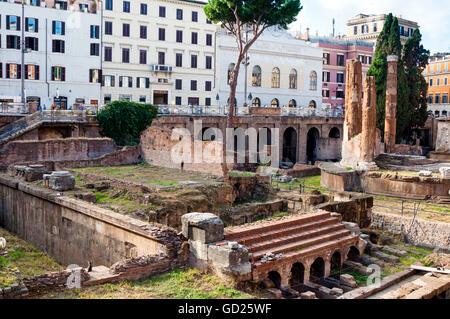 Ruines de temples romains à l'Area Sacra di Largo di Torre Argentina, Rome, UNESCO World Heritage Site, lazio, Italie, Banque D'Images