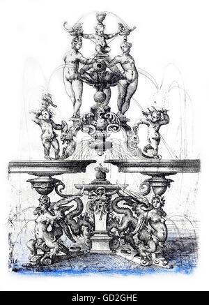 Beaux-arts, Dietterlin, Wendel (1550 / 1551 - 1599), gravure, concept pour une fontaine, à partir de: 'Architectura', Banque D'Images