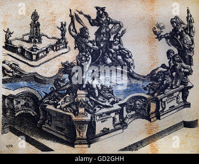 Beaux-arts, Dietterlin, Wendel (1550 / 1551 - 1599), gravure, concept pour une fontaine des continents, à partir Banque D'Images