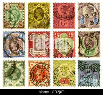 Courrier, timbres-poste, Grande-Bretagne, timbres-poste britanniques avec le portrait de la reine Victoria, 1889 jusqu'en 1899, droits supplémentaires-Clearences-non disponible