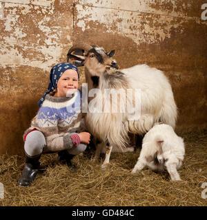 Fille avec chèvres et chevreaux, dans l'ouest de l'Islande Banque D'Images