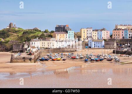 Harbour Beach, Tenby, à marée basse, Pembrokeshire, Pays de Galles, Royaume-Uni