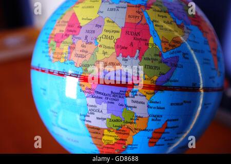 Le continent de l'Afrique mis en évidence dans un monde de l'enfant. Banque D'Images