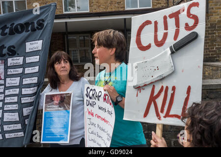 Londres, Royaume-Uni. 13 juillet 2016. L'un d'environ 20 manifestations à travers le pays par des manifestants handicapés Banque D'Images