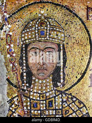 Alexis I Comnène, 1048 - 15.8.1118, l'empereur romain 4.4.1081 - 15.8.1115, portrait, mosaïque, Sainte-Sophie, Istanbul, Banque D'Images