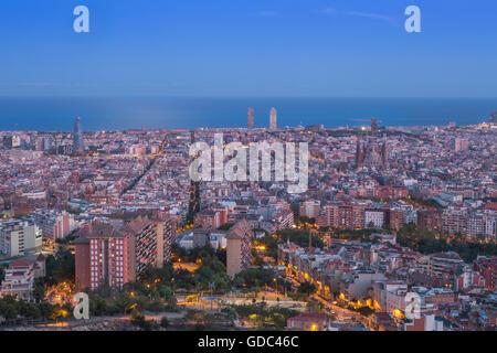 Espagne Catalogne Barcelone,,Ville,panorama au coucher du soleil Banque D'Images