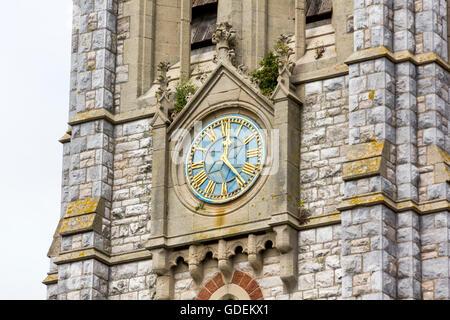 Réveil Détail montrant la colonisation sur la Tour de l'église St Michel Archange, Teignmouth, Devon. Banque D'Images