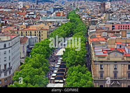 Voir de sur Las Ramblas, la rue la plus célèbre de Barcelone, par le monument de Colomb (Monument a Colom) Catalogne, Espagne