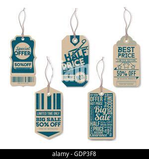 Vintage Tags ensemble avec string, réaliste, papier texturé, vente au détail et en ligne de concept Banque D'Images