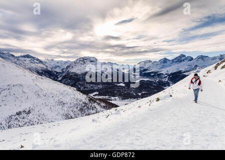 Homme marchant sur la montagne couverte de neige, vue arrière, Engadine, Suisse Banque D'Images