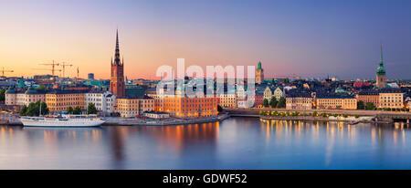Stockholm. image panoramique de Stockholm, Suède pendant le coucher du soleil. Banque D'Images