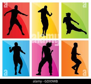Dancing Silhouettes vecteur concept d'arrière-plan Banque D'Images