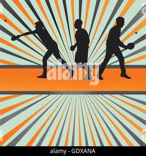 Joueur de tennis de table de ping-pong silhouette vector background burst pour poster Banque D'Images