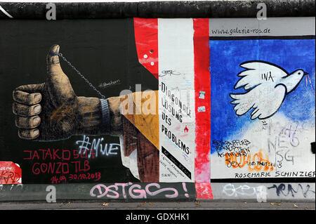 Mur de Berlin - East Side Gallery Banque D'Images