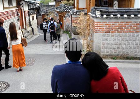 La Corée du Sud. Séoul. L'année 2013. Le village de Bukchon Hanok Banque D'Images