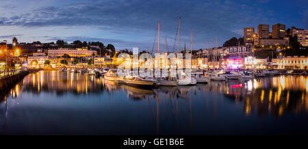 Go - DEVON: le port de Torquay et ville par nuit Banque D'Images